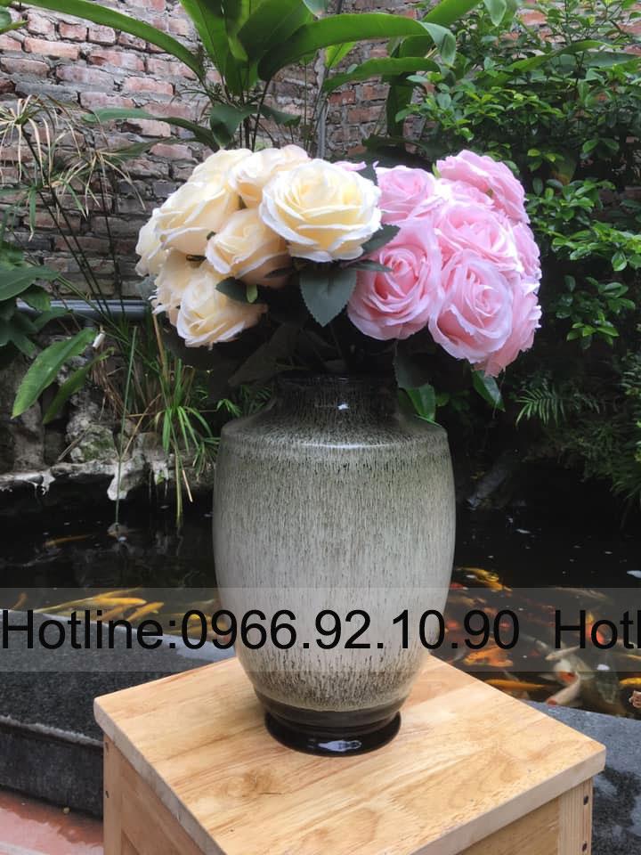 Lá» hoa men há»a biến màu nâu xám H27cm _D20cm