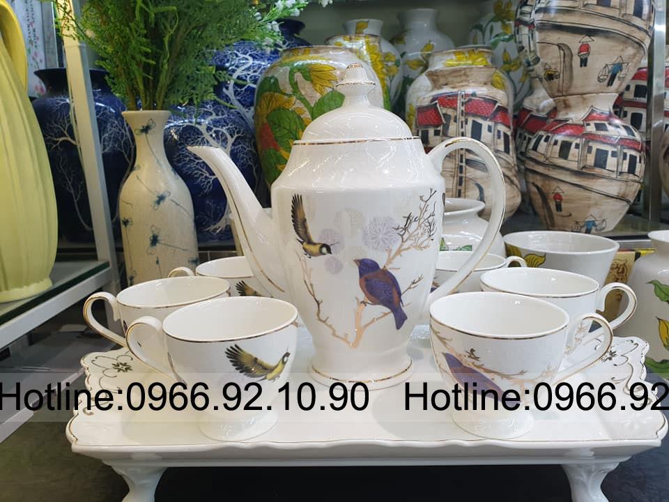Bộ trà sứ xương chim hoa cao cấp kèm khay