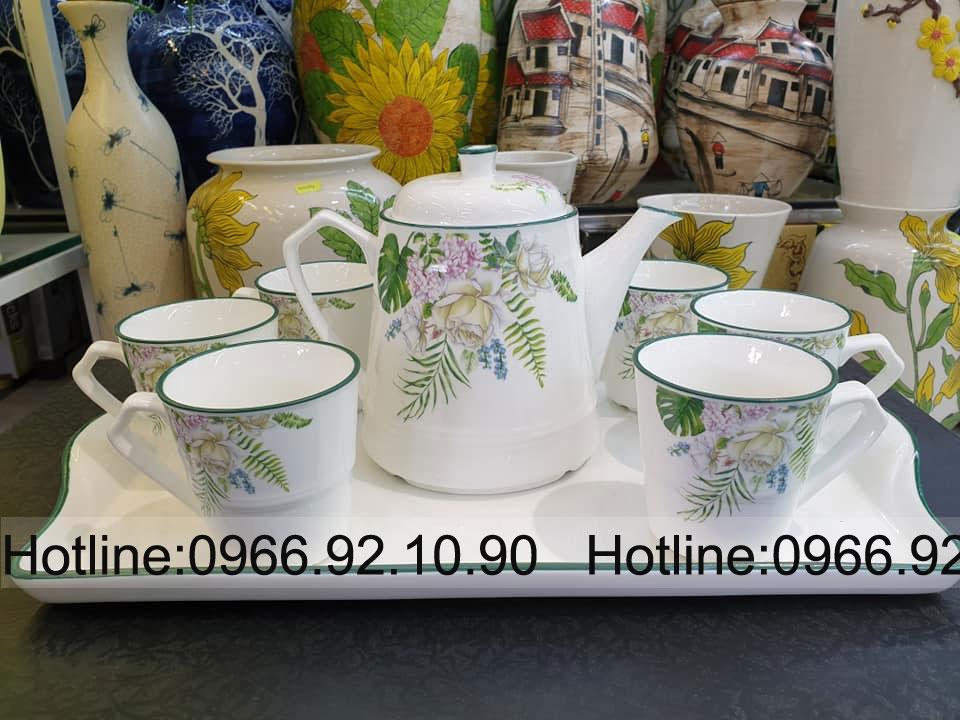 Bộ trà , cafe họa tiết hoa cỏ mùa xuân
