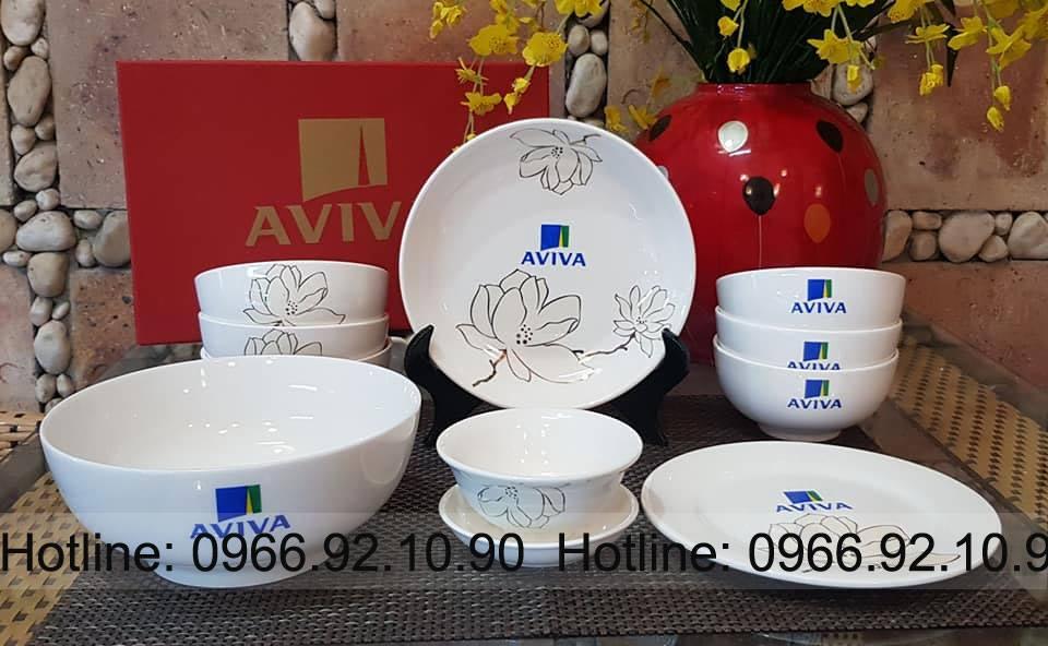 Bộ bát đĩa in logo Aviva